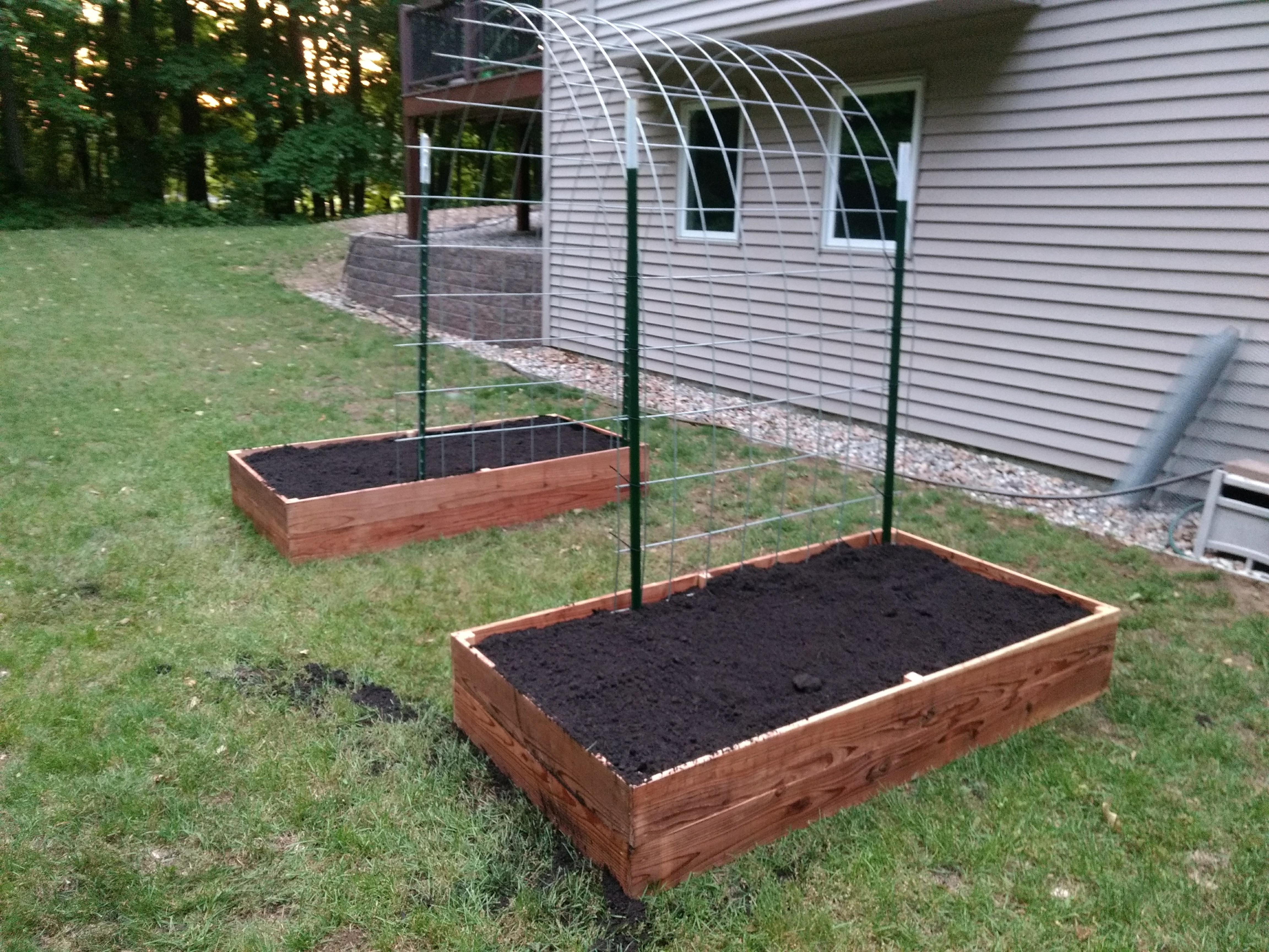 How To Build 2 Raised Garden Beds with an Arched Trellis for ... Raised Garden Beds Trellis Designs on pergolas trellis designs, home trellis designs, garden plants trellis designs, grapes trellis designs, raised garden beds landscaping, raised garden beds landscape design,